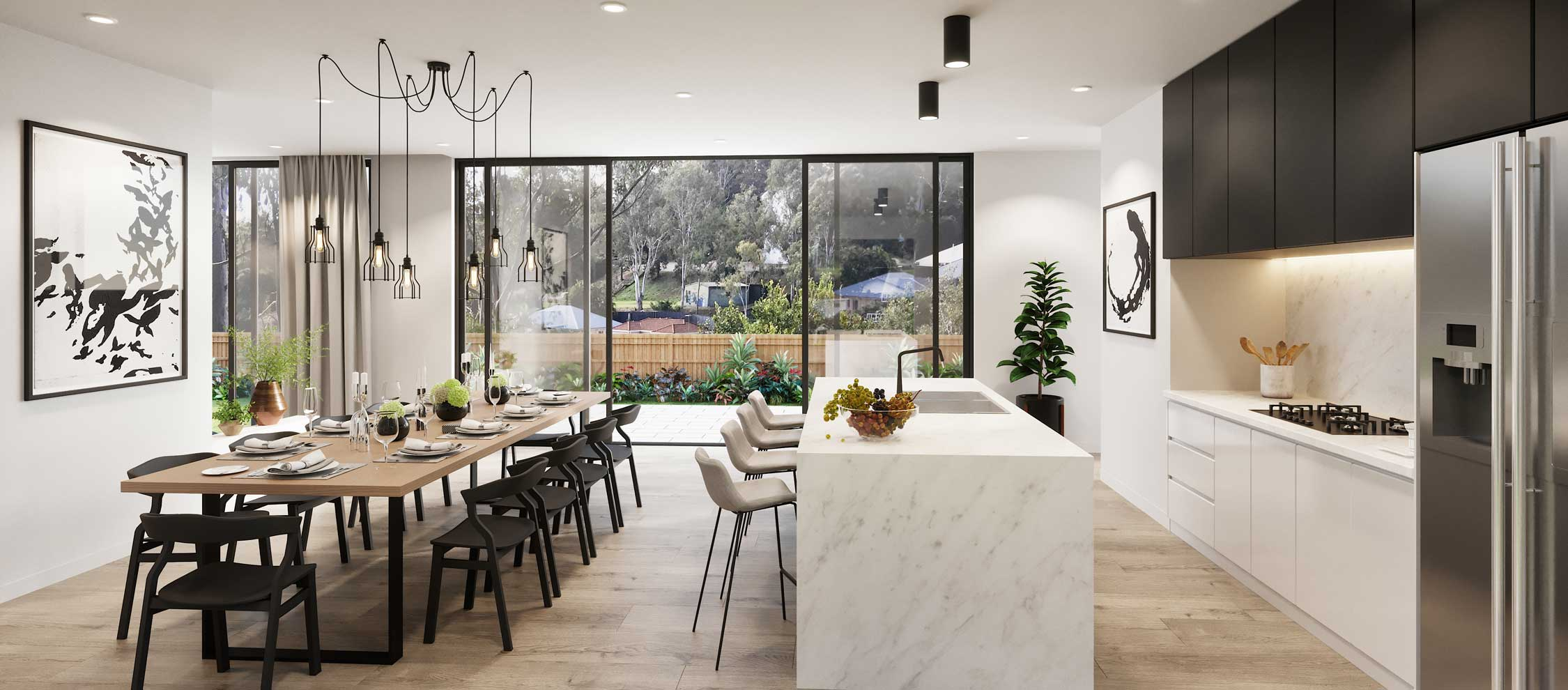 Kitchen and dining at The Cascades | House and Land for Sale in Kenmore, Brisbane | Artist's Impression